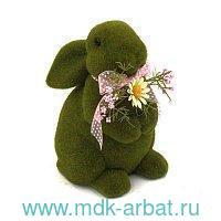Фигурка декоративная 24см «Заяц» темно-зеленая