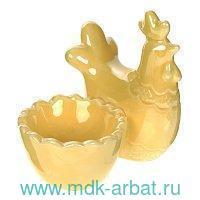 Подставка под яйцо 8х6.6х8см «Петушок» желтый фарфор