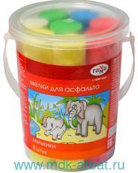 Мелки для асфальта 5 цветов, 8 штук «Мультики» пластиковое ведро : Арт.1704191 (ТМ Гамма)