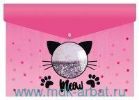 Папка для тетрадей А4 «Коты» на кнопке, цвет розовый : Арт.50961 (ТМ Феникс+)