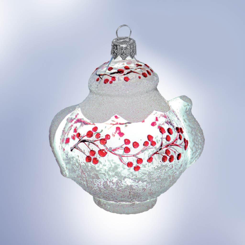 Украшение «Чайник. Льдинки-калинки» стекло, индивидуальная упаковка : Арт.604.14 (ТМ Ариель)