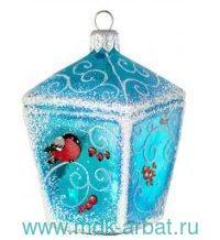Украшение«Фонарик со снегирями»стекло, индивидуальная упаковка : Арт.923 (ТМ Ариель)