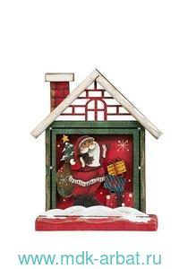 Украшение рождественское настольное «Домик санты» (дерево) 12х4х14.5 см. : Арт.KH70577 (ТМ Holiday Classics)