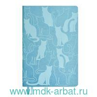 Ежедневник недатированный А5 160 листов «Коты» голубой : Арт.52976 (ТМ Escalada)