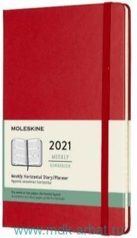 Еженедельник 2021 А5 72 листа «Classic» твердая обложка, красный : Арт.429059 (ТМ Moleskine)