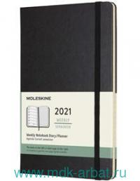 Еженедельник 2021 А5 72 листа «Classic» твердая обложка, черный : Арт.384712 (ТМ Moleskine)
