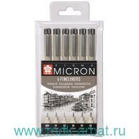 Ручки капилярные 6 шт. «Pigma Micron» черные : Арт.PO(XSDK-6) (ТМ Sakura)