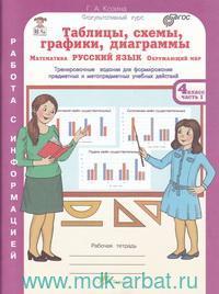 Таблицы, схемы, графики, диаграммы : Русский язык.  Окружающий мир. Математика. : тренировочные задания : рабочая тетрадь для 4-го класса : в 3 ч. (ФГОС)