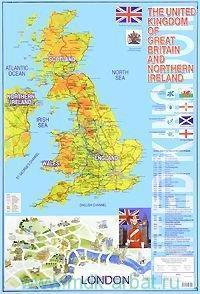 The United Kingdom of Great Britain and Northern Ireland = Карта Великобритании на английском языке